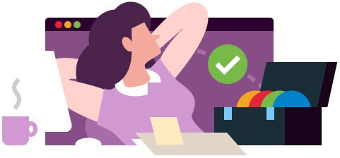 Illustration of a woman relaxing as her marketing tasks are in hand