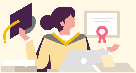 Illustration of a woman with a mortar board for e-learning