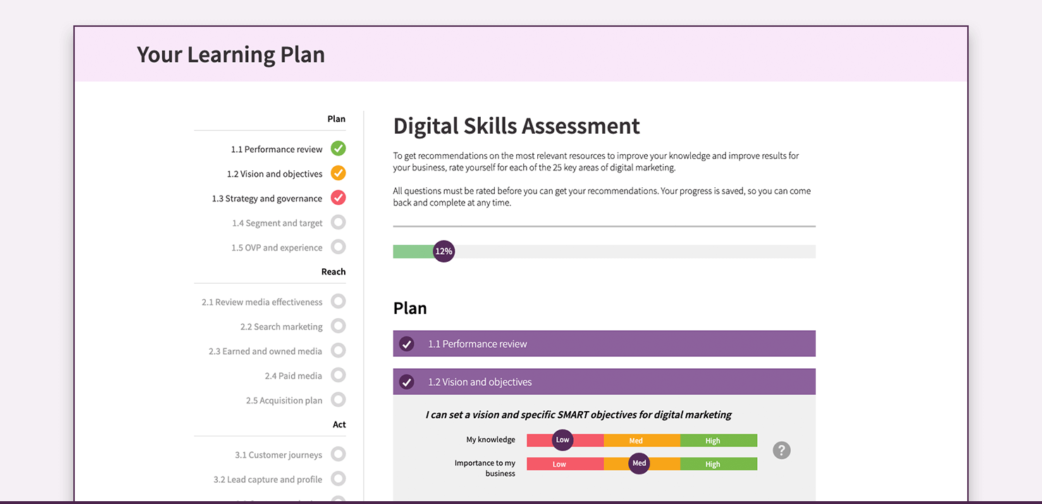 Learning plan screenshot