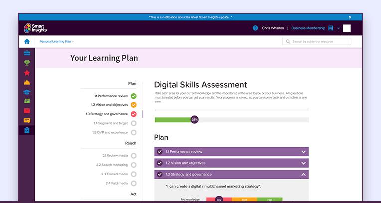 Skills assessment screenshot