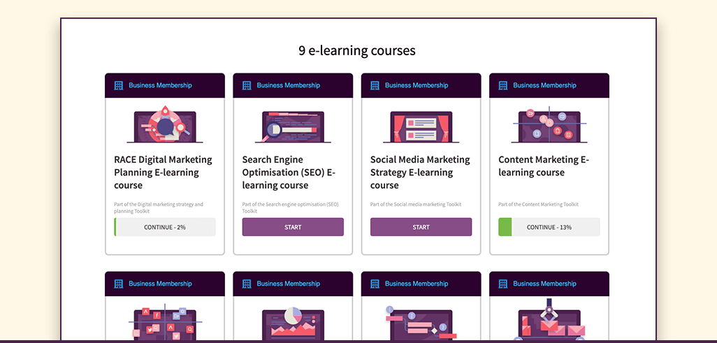 Screenshot of our e-learning product page