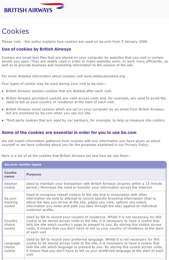 BA.com cookie policy