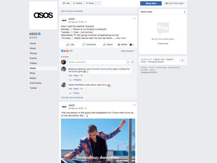 ASOS facebook marketing