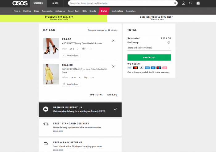 ASOS digital shopping cart