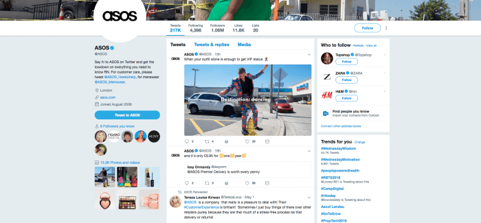 ASOS twitter marketing