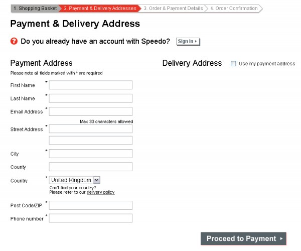 Speedo sign-in page