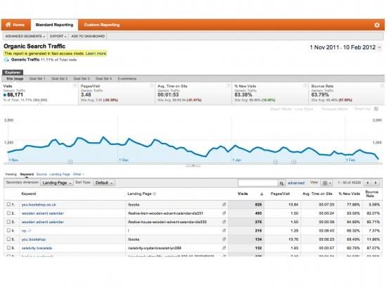 Google Analytics Organic Search Traffic Report