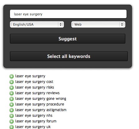 ubersuggest for laser eye surgery