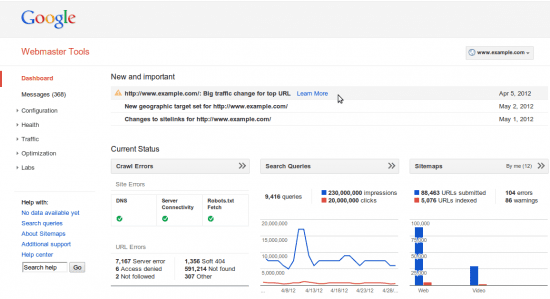 New Google Webmaster Dashboard