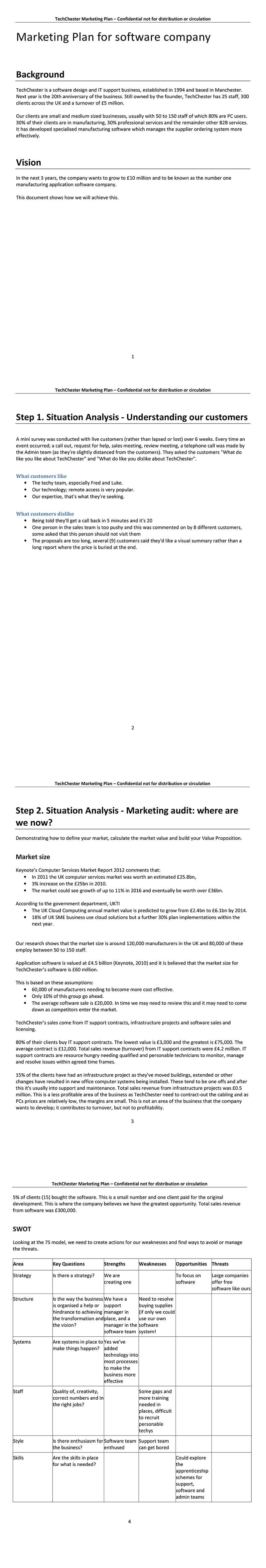 Example marketing plans (SOSTAC®)