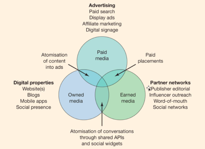 Paid owned and earned diagram