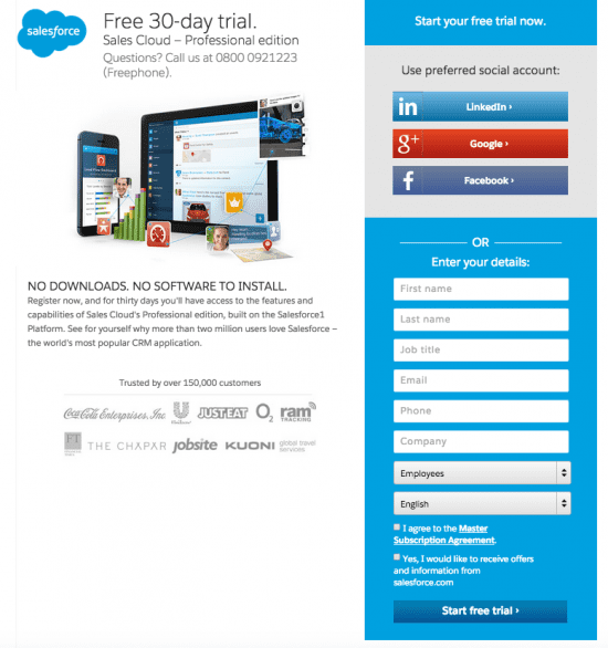 Salesforce Landing Page example - short landing page with form
