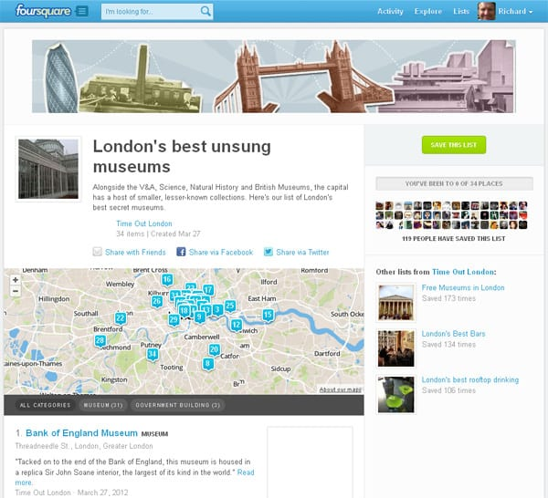 An Example of Lists on Foursquare