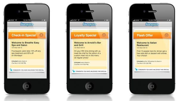Examples of Foursquare Specials/Discounts