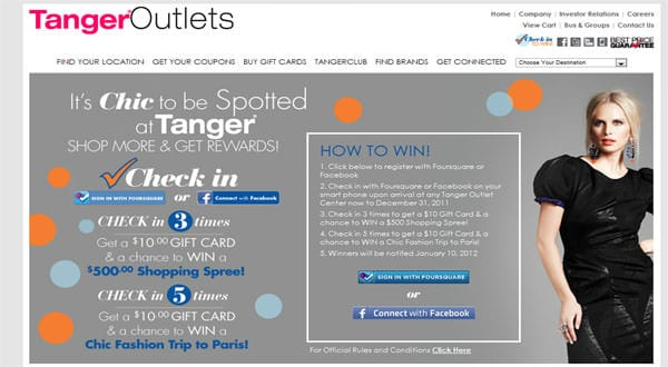 Tanger Rewards Sign-up Page