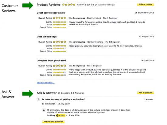 Bazaarvoice customer reviews on eSpares