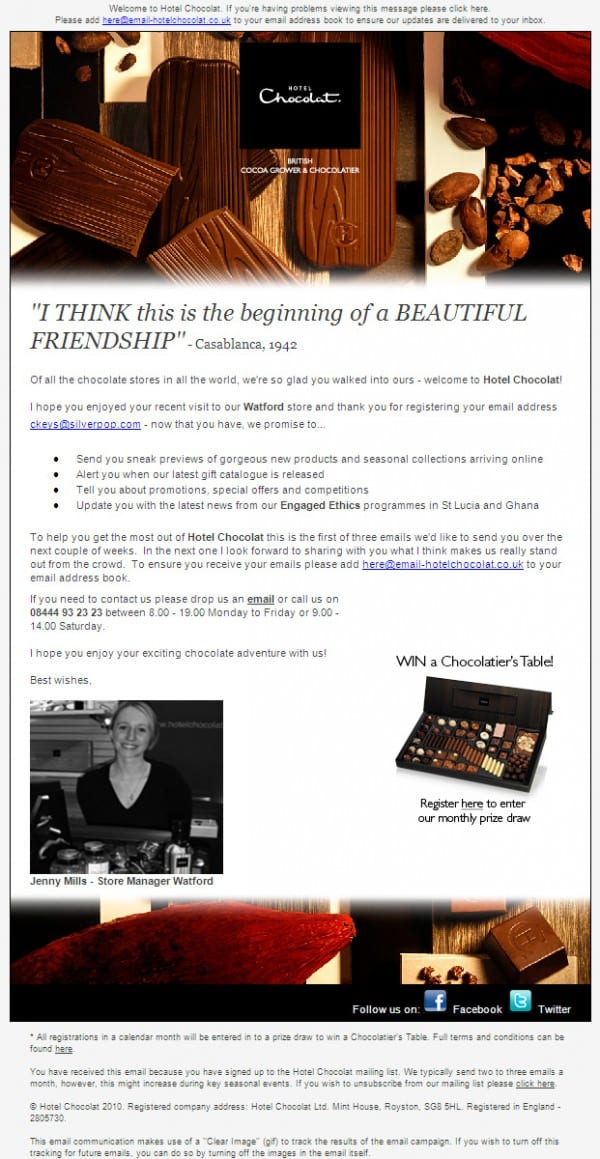 Hotel Chocolat Welcome Email