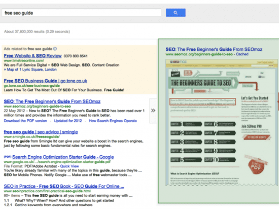 Google Instant Preview for Organic Listing