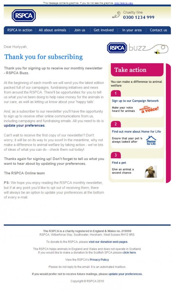 RSPCA Welcome Email