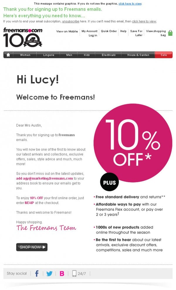 Freemans.com Welcome Email