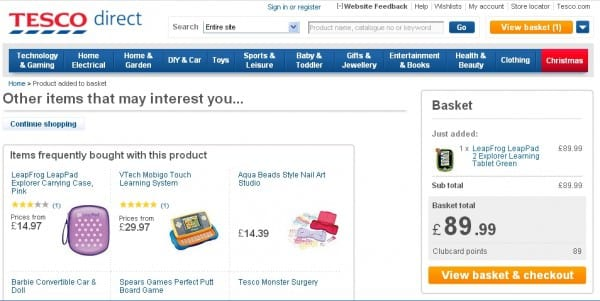 Tesco using featured products on basket page