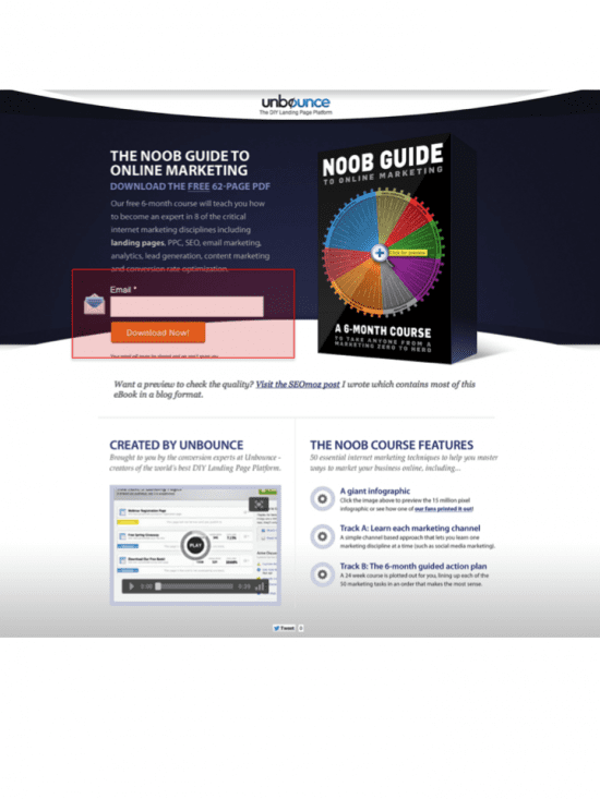 Landing page for Unbounce guide