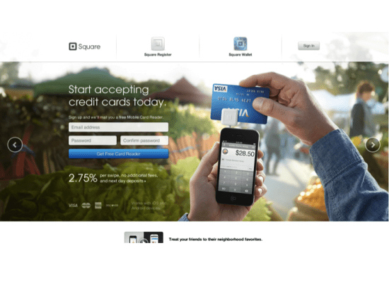 Landing page for Square