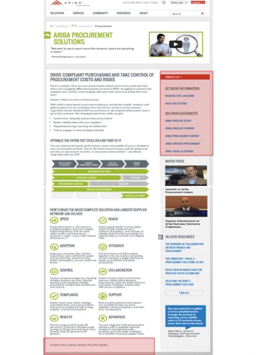 Landing page for Ariba e-procurement solutions