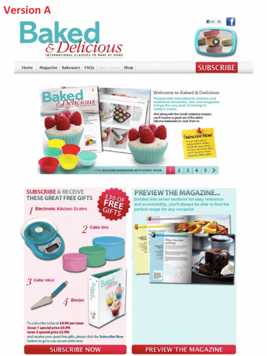 Baked & Delicious landing page version A