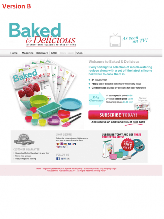 Baked & Delicious landing page version B