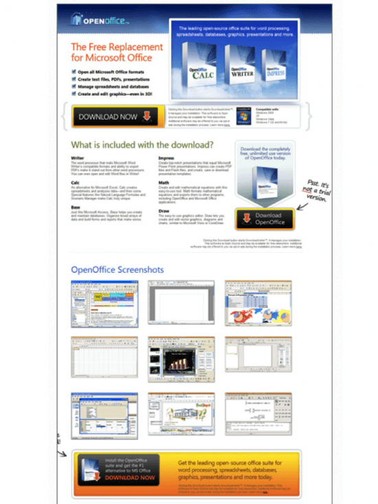 Landing page for OpenOffice Software download