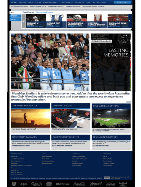 Landing page for Club Wembley