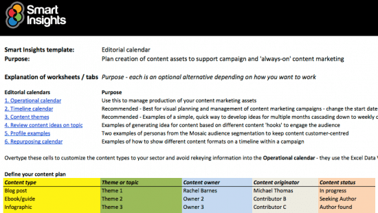 Editorial Calendar Spreadsheet Smart Insights - Content marketing schedule template