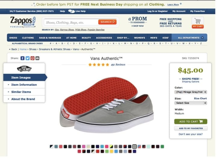 Zappos landing page - Smart Insights