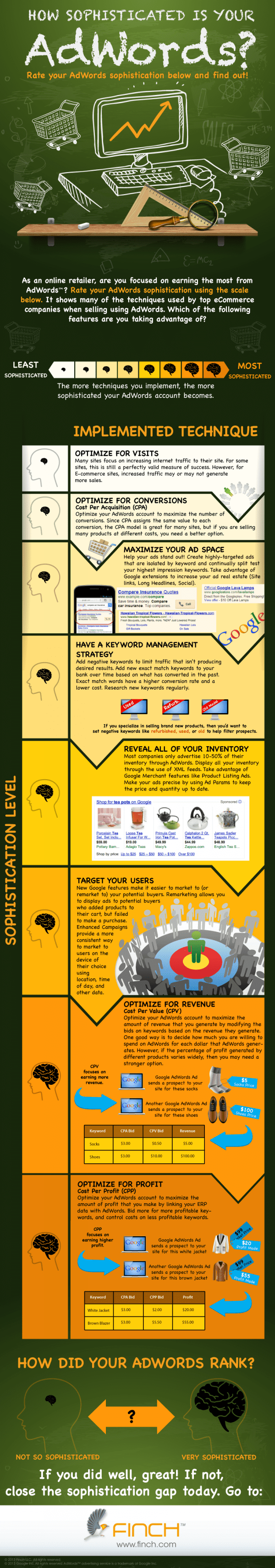 ppc strategy template - how sophisticated are your adwords campaigns infographic