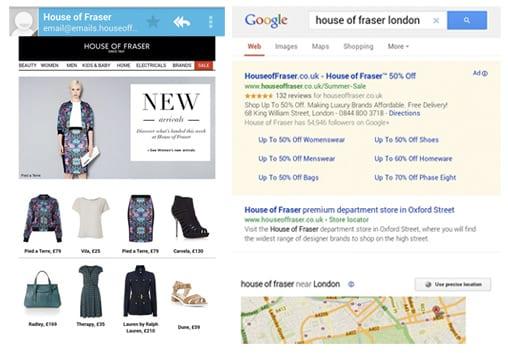 House of Fraser mobile marketing