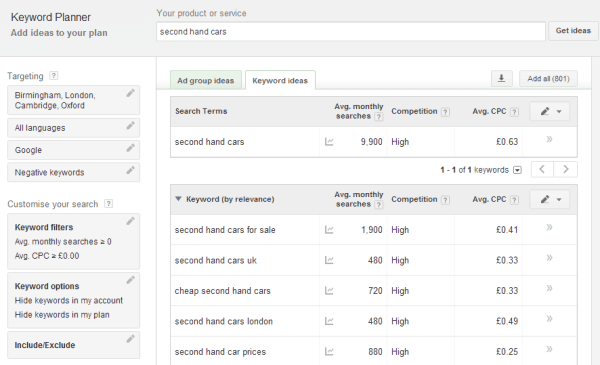 A briefing on the new Google Keyword Planner