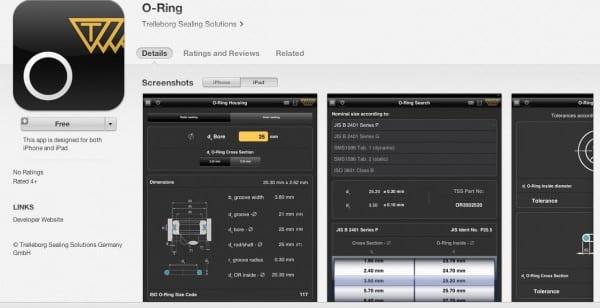 Trelleborg O ring ipad app Oct 2013