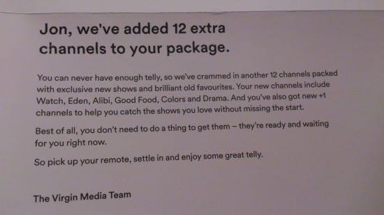 Virgin Media - new channels letter
