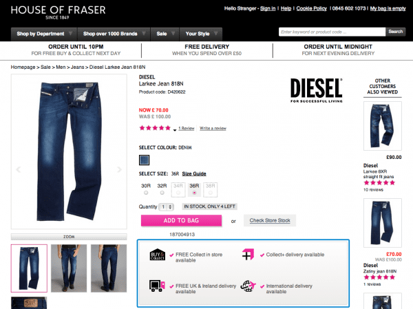 House of Fraser Product Page