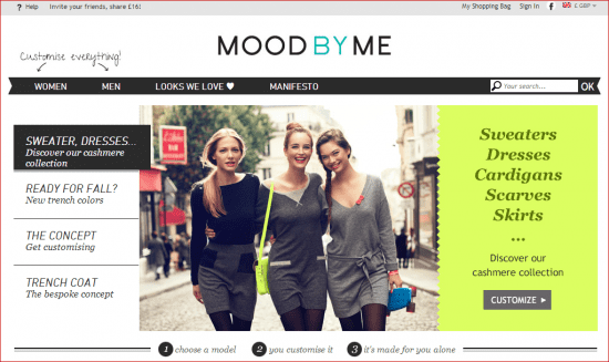moodbyme homepage calls to action
