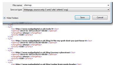Saving Sitemap XML
