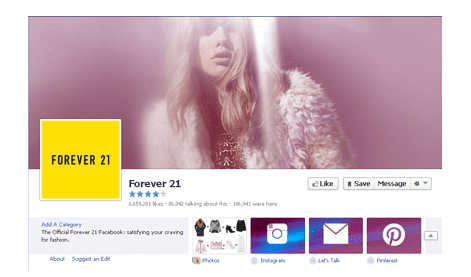 FOREVER21 facebook page
