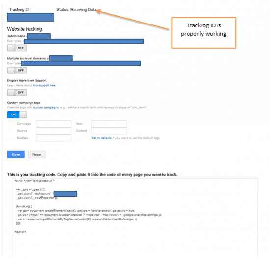 Tracking ID on Google Analytics