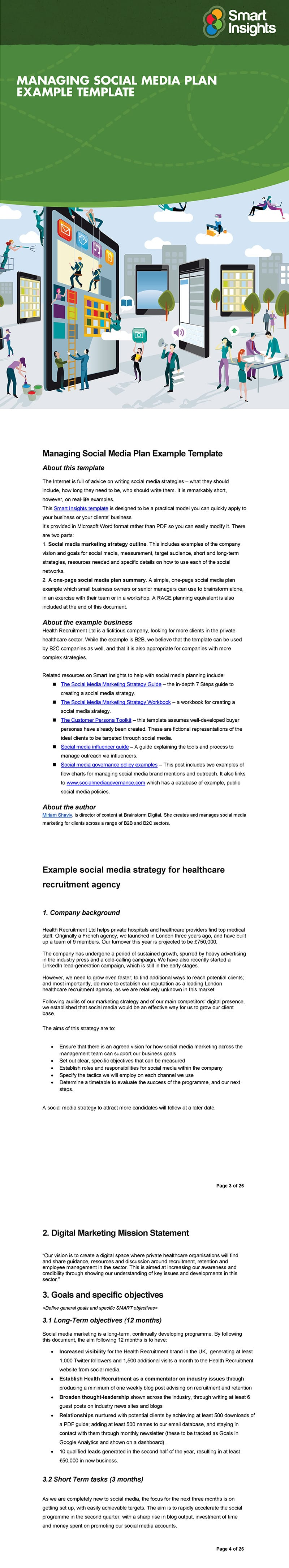 Managing social media plan example template