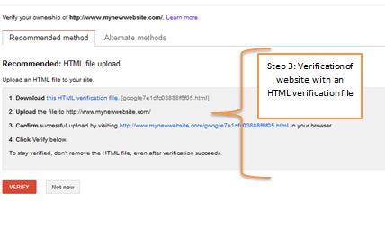 HTML Verification on Google Webmaster Tools