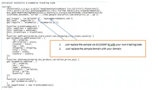 Sample tracking code for Universal Analytics