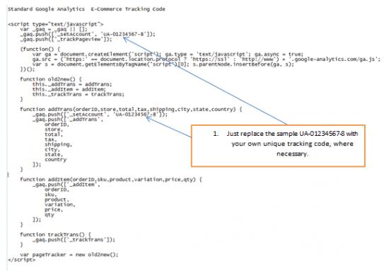 Standard Analytics tracking code