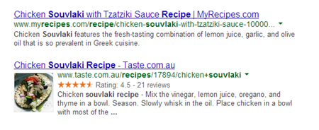 Rich snippets on search engine results