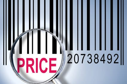 Price under magnifyng glass on barcode